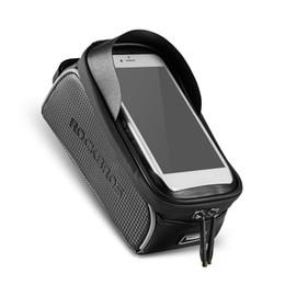 держатель телефона mtb Скидка ROCKBROS MTB велосипед телефон сумка Верхняя трубка сумка Велоспорт передняя рама Держатель телефона сенсорный экран велосипед сумка водонепроницаемый