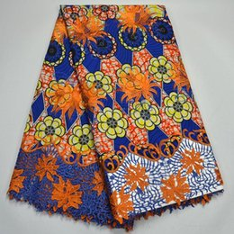 Wholesale High Quality Super Wax - 2018 African Wax Prints Fabric Super Wax With Stones High Quality Nigerian lace swiss Wax With Lace Design XYW123