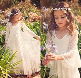 Wholesale Kids Vintage T Shirts - 2017 Vintage Beach Flower Girl Dresses White Ivory Boho First Communion Dress V-Neck Long Sleeve A-Line Cheap Kids Wedding Dress