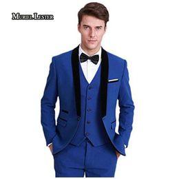Wholesale royal blue vest l - M324 Men's Royal Blue 3 Pieces Suit for Men Groom Blazer Jacket & Vest & Pants suit men Bestman Wedding Groom prom Suits dress