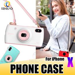 2019 telemóvel doce Telefone de luxo case para iphone x elegante candy color camera design bolsa celular tampa traseira com cordão para apple 8 7 6 plus telemóvel doce barato