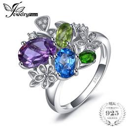Jewelrypalace Blume 2.6 echter Amethyst Sky Blue Topaz Peridot Chrom Diopsid Anhänger 925 Sterling Silber für Frauen neue heiße von Fabrikanten