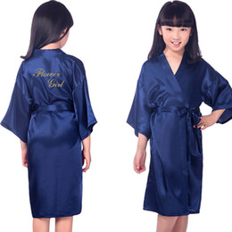 Wholesale Girls Bathrobes - Kids Bronzing Gold Satin Rayon Kimono Robe Bridesmaid Flower Girl Solid Bathrobe Children Wedding Nightgown Sleepwear