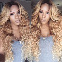Wholesale Root Light - Honey Blonde Lace Front Wig Glueless Full Lace Wigs Human Hair Ombre Wig Black Roots 1B 27 Loose Wave Malaysian Virgin Hair