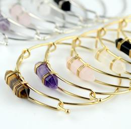 2019 porcellana bracciali anelli JLN Hexagonal Wire Wrap Bangle pietra preziosa cristallo quarzo ametista nero onice prisma pallottola di pietra forma regalo braccialetto per le signore