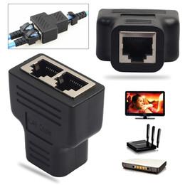 Wholesale Socket Lan - RJ45 Splitter Adapter 1 to 2 Dual Female Port CAT5 CAT 6 LAN Ethernet Socket Splitter Extender Connector Wholesale