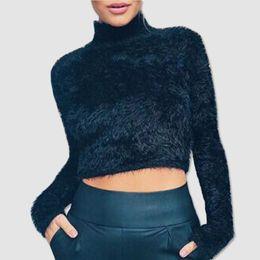 2019 suéter macio pulôver Fofo Mohair Knit Crop Top Camisola Jumper das mulheres Júnior Meninas Sexy Outono Inverno Manga Comprida Malhas Club Tops DZG0102 suéter macio pulôver barato