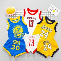 Wholesale baby blue spandex - Outdoor dress for Baby Boys Girls Sports Sets Children Basketball sports suits 13 Rockets T Shirts + Shorts 2pcs Sets Kids Clothing