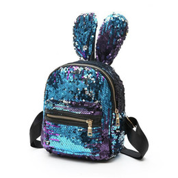 Wholesale Backpack Teenagers - Shinning Bling Sequins Cute Big Rabbit Ears Backpack for Teenager Girls mochila Shoulderbag Women Mini Travel cute Bag escolar