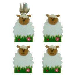 new knife designs Coupons - New arrival 4pcs set Easter Sheep Flower Design Knife And Fork Bags Tableware Covers Tableware bag Easter Decor Home Decoration