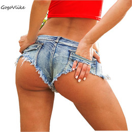 Wholesale Pink Micro Thong - 5 Colors Sexy Ripped Pocket Pole dance thong Bar shorts Women jeans denim Micro Ultra Low Waist Clubwear cortos mujer DK037S20