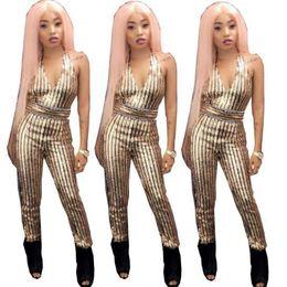 Traje de lentejuelas de oro online-2018 Gold Sequin Jumpsuit Romper Mujer Sexy Body V Cuello de rayas Bodycon Jumpsuit Sexy Party Playsuit