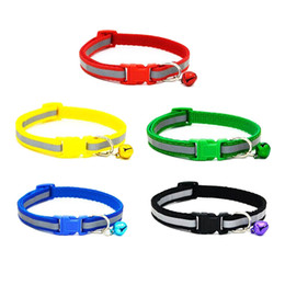 Wholesale Kitten Bell - New 1Pc Colorful Pet Necklace Collars Glossy Reflective Safety Buckle Collar With Bell Dogs Cats Puppy Kitten Lovely Gift
