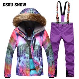 2019 vêtements de ski en plein air GSOU SNOW Marque Ski Suit Femmes Veste De Ski Pantalon Étanche Montagne Ski Costume Snowboard Ensembles Hiver Sports De Plein Air Vêtements vêtements de ski en plein air pas cher