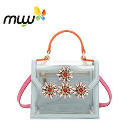borsa morbida korea Sconti Muyu 2018 donne trasparente morbida PU borsa a mano chiusura Hasp fiore decorazione signora borse a tracolla Corea stile femminile borse a tracolla