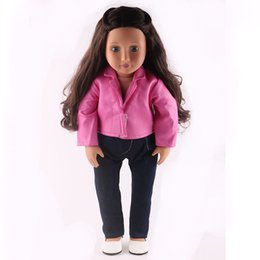 Wholesale Best Leather Jackets - Doll Accessories,Pink Leather jacket+Pants Doll Clothes Wear fit 18 inch American Girl,Children best Birthday Gift N280