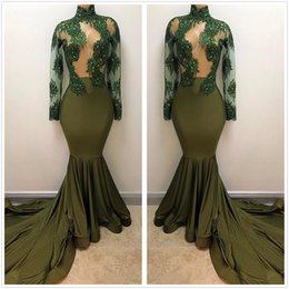 Wholesale Long Sleeved Back Zipper Dress - 2018 Dark Green Sheer High Neck Satin Long Prom Dresses Long Sleeved Beaded Crystals Sweep Train Evening Gowns Vestidos Party Dress