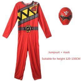 POWER RANGERS DINO CHARGE Máscara de mono Cosplay azul músculo rojo Zentai Bodysui Kids boy traje Halloween niño Warrior jumpsuit desde fabricantes
