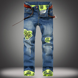Wholesale urban hip hop jeans - New Super Quality Skinny Jeans Men Stretchy Knee Patchwork Holes Jeans Urban Hip Hop Hombre Slim Patch Straight Denim Pants Mens