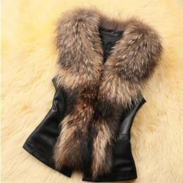Wholesale Knit Vest Fur Collar - Faux Fox Fur Collar Patchwork PU Leather Vest Coat Sashes Slim Fashion Short Waistcoat Cool Style Colete de Pele Falso E106