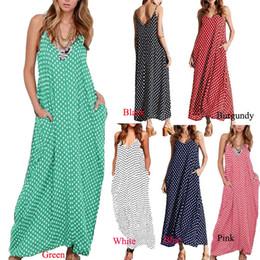 Wholesale Pink Sundress Women - 5XL Plus Size Summer Dress 2017 Women Polka Dot Print V Neck Sleeveless Sundress Loose Maxi Long Beach Bohemian Vintage Dress