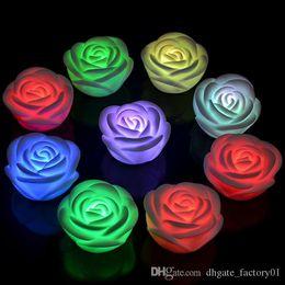 freie liebe blumen rosen Rabatt Veränderbare Farbe LED Rose Flower Candle leuchtet rauchlose flammenlose Rosen Liebe Lampe leuchten kostenlose Batterie Tisch Dekoration Geschenk