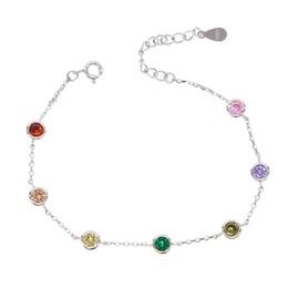 Canada 100% en argent sterling 925 multicolore cubique zircon brillant bracelet coloré, chaîne en argent femme cadeau de Noël, ajuster les bracelets Offre