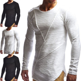 Wholesale Muscle Long Sleeve Shirt - Thefound New Fashion Spring Fall T-Shirts Men's Slim Fit O Neck Long Sleeve Muscle Tee T-shirt Casual Tops Plus Size M-2XL