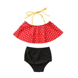 Argentina 2PCS Toddler Baby Girls Swimwear Chaleco sin mangas de lunares en color rojo + Pantalones cortos negros sólidos Establece 1-6Y cheap black vest for toddler girl Suministro