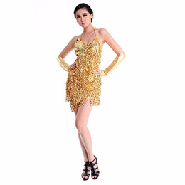 belly dance tassels Coupons - Sexy Women Lady Girls Latin Dance Dress Sequins Tass Sequins Tassel Decorate Sleeveless Dancewear