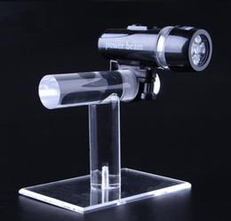 2019 lanterna clara Promoção bicicleta suporte de exposição da lâmpada de acrílico claro lanterna prateleira bicicleta frente da tocha suporte de luz à prova d 'água assista jóias rack de exibição lanterna clara barato