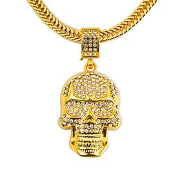 Wholesale Skull Necklace Men - 2018 Cool Skull Necklace Gold Vacuum Plating Personality Necklace Women And Men Hallowmas Jewelry & Accessories Christmas Gifts