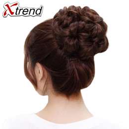 flower hairpieces Coupons - Xtrend Synthetic Curly Chignon Bun Hairpiece For Women 9 Flowers Roller Clip in Fake Hair Accessories High Temperature Fiber