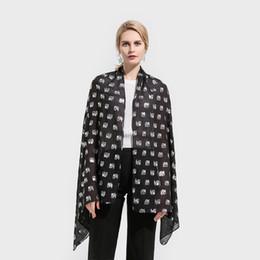 Wholesale Glitter Shawls Scarves - Winfox New Fashion Shiny Black Elephant Animal Print Foil Sliver Glitter Scarves Hijab Scarf Echarpe Femme