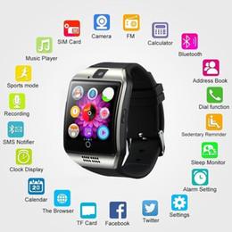 smart sms sincronizzazione orologio Sconti NFC Bluetooth Smart Watch Q18PLUS con fotocamera facebook Sincronizzazione SMS Supporto MP3 Sim TF per iOS Android