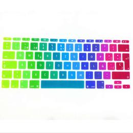 "Wholesale apple keyboard uk - Rainbow Spanish UK EU Silicone Keyboard Cover Skin Protector For Apple MacBook Air 11.6 inch 11"" EU For Mac book 11"" 11.6"