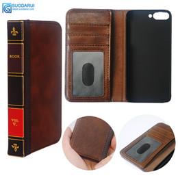 Cajas del teléfono celular del vintage online-Caja de cuero del teléfono celular del tirón para Huawei Y6 2018 Cartera Retro Biblia Vintage libro bolsa de negocios
