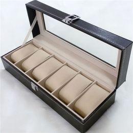 humidificador charutos Desconto 6 grade preto pu relógio de pulso de madeira caixa de exibição de armazenamento de jóias caso organizador titular com janela de vidro 20 pcs / ctn