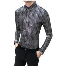 Повседневная одежда для мужчин онлайн-New 2018 Autumn Men Casual Shirts Fashion Long Sleeve  Printed Button-Up Formal Business Floral Men Dress Shirt Clothes
