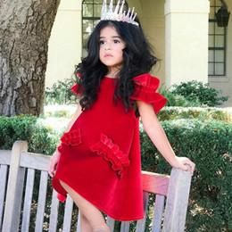 2019 robe modèle en velours 2018 modèles d'été filles bébé or robe de velours enfant bretelles dentelle robe à manches princesse 24M-5T promotion robe modèle en velours