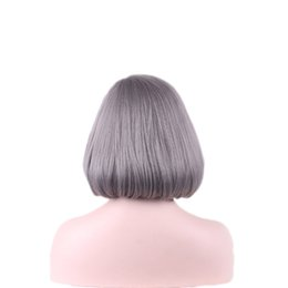 Wholesale Blue Gray Wig - synthetic WOODFESTIVAL women grey gray wigs short bobo wigs synthetic hair heat resistant navy blue wig 30 cm purple taro wig