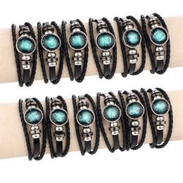 2018 Başak / Yay / Kova / Akrep / Terazi / Oğlak 12 Takımyıldızı Bilezik Erkek Kadın Örgülü Deri Bileklik Bilezik supplier aquarius bracelets nereden küpeler tedarikçiler