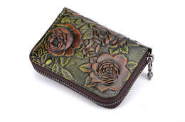 Wholesale hand painted leather - New top hand painted leather credit Card Holders carving process zipper Organ Card bag multi-card leather fashion casual Mini Wallets