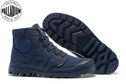 e5217dd966 PALLADIUM Pampa Hi 52352 Cowboy blue Sneakers Comfortable High Quality Ankle  Boots Lace Up Canvas Men Casual Shoes Size 39-45