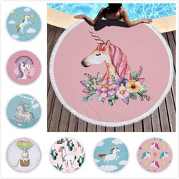Wholesale Luxury Throws - Unicorns Fantasy Luxury Beach Towel 150CM Alpaca Round Beach Towels Summer Swimming Bath Towels Microfiber Shawl Mat Thick Pink Blanket DHL