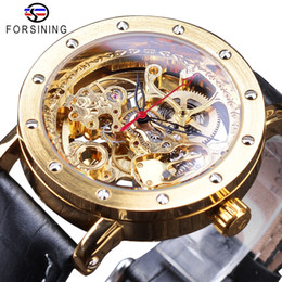 83c5d0295f2 Forsining 2018 Moda de Luxo Relógios de Ouro Preto Genuíno Pulseira de Couro  Relógio a Céu Aberto dos homens Automáticos Relógios Top Marca de Luxo  homens s ...