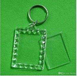 "Marco plástico de la foto llaveros personalizados online-170pcs Blank Acrylic Rectangle Keychains Insert Photo Keyrings (Key ring chain)1.5""x 1.9"",plastic photo frame keychain"