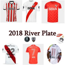 Wholesale Soccer Jersey River - 2017 2018 River Plate Jersey Scocco Sanchez Rodrigo Mora Football Shirt 17 18 Batistuta Balanta River Plate soccer Jersey Top quality