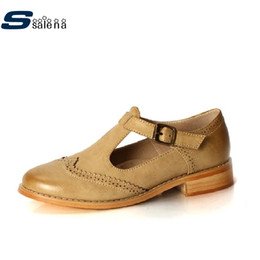 Wholesale Korean Oxford Shoes - Wholesale- New style female Korean oxfords shoes British style carved leather shoes casual high quality women shoes #C072