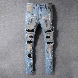 Wholesale Mens Skinny Denim Shorts - Men's Distressed Ripped Skinny Fashion Designer Shorts Slim Motorcycle Moto Biker Causal Mens Denim Pants Hip Hop Jeans Hole